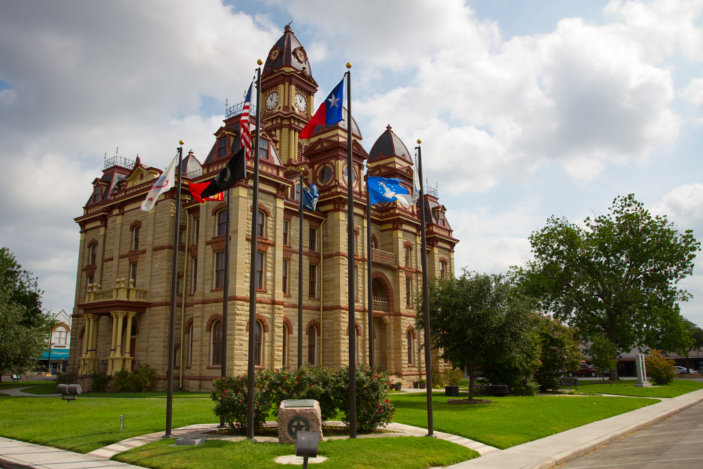 The third courthouse built for Caldwell County, this beautiful building became a Texas Historic Landmark in 1976.