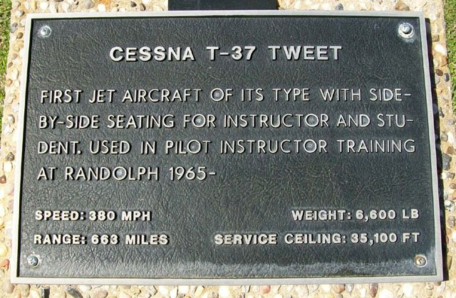 Cessna T-37 Tweet Historical Marker https://www.hmdb.org/marker.asp?marker=31482