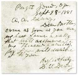 Note sent from David Denny to Arthur Denny, prompting him to bring to Party to Alki