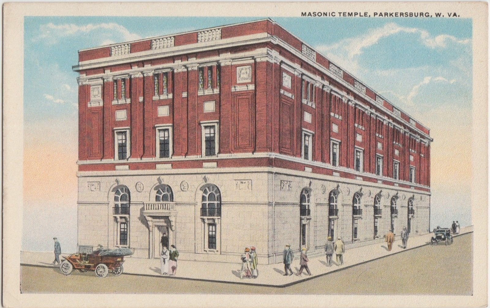 A postcard of the Masonic Temple from the 1910s.