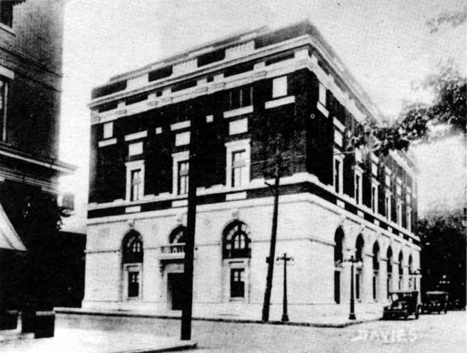 An early photograph of the site. In black and white, the stark contrast between red brick and white limestone is particularly apparent. Courtesy of Jim Dawson, ElectricEarl.com.