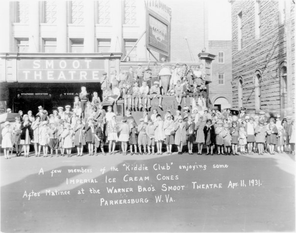 "A ""kiddie"" club in front of the theater in 1931."