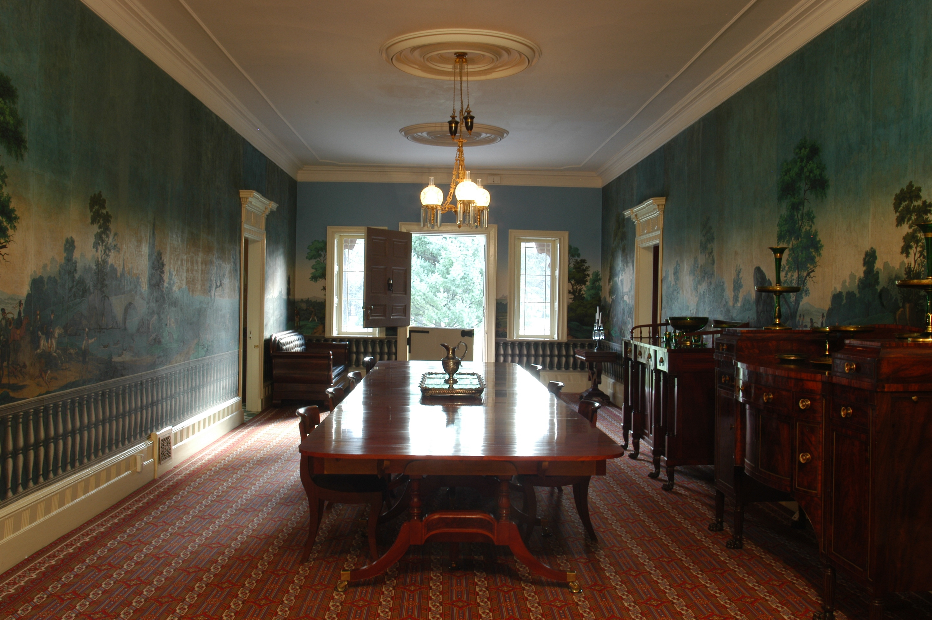 Van Buren practiced politics in the main hall of his home for more than twenty years.  He would lobby, cajole, argue, discuss and debate with other politicians while entertaining them in  the elegant room.