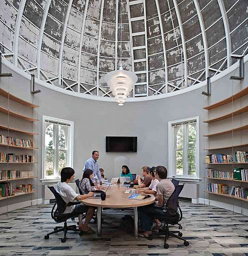 The dome room is now a conference room for the Education Department