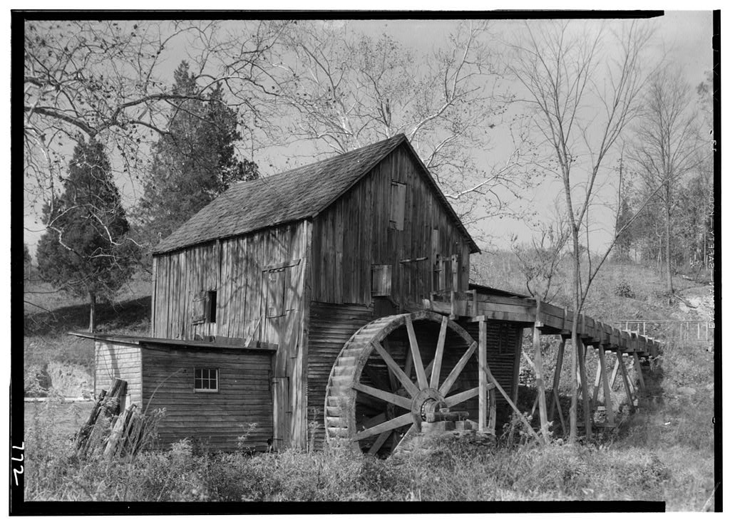 HABS Photograph 2, Piney Branch Water Mill in 1930s with frame additions