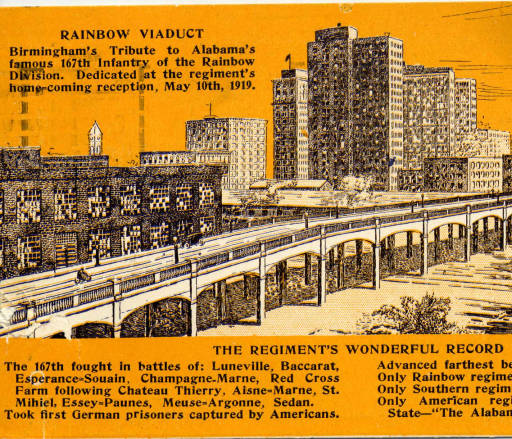 The Rainbow Viaduct shown against the city