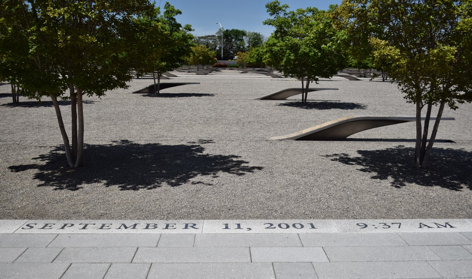 Inscription on the memorial grounds that indicate the date and time of the attack on the Pentagon. Photo courtesy of Terry Hall