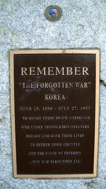 The Korean War Memorial Plague titled the Forgotten War