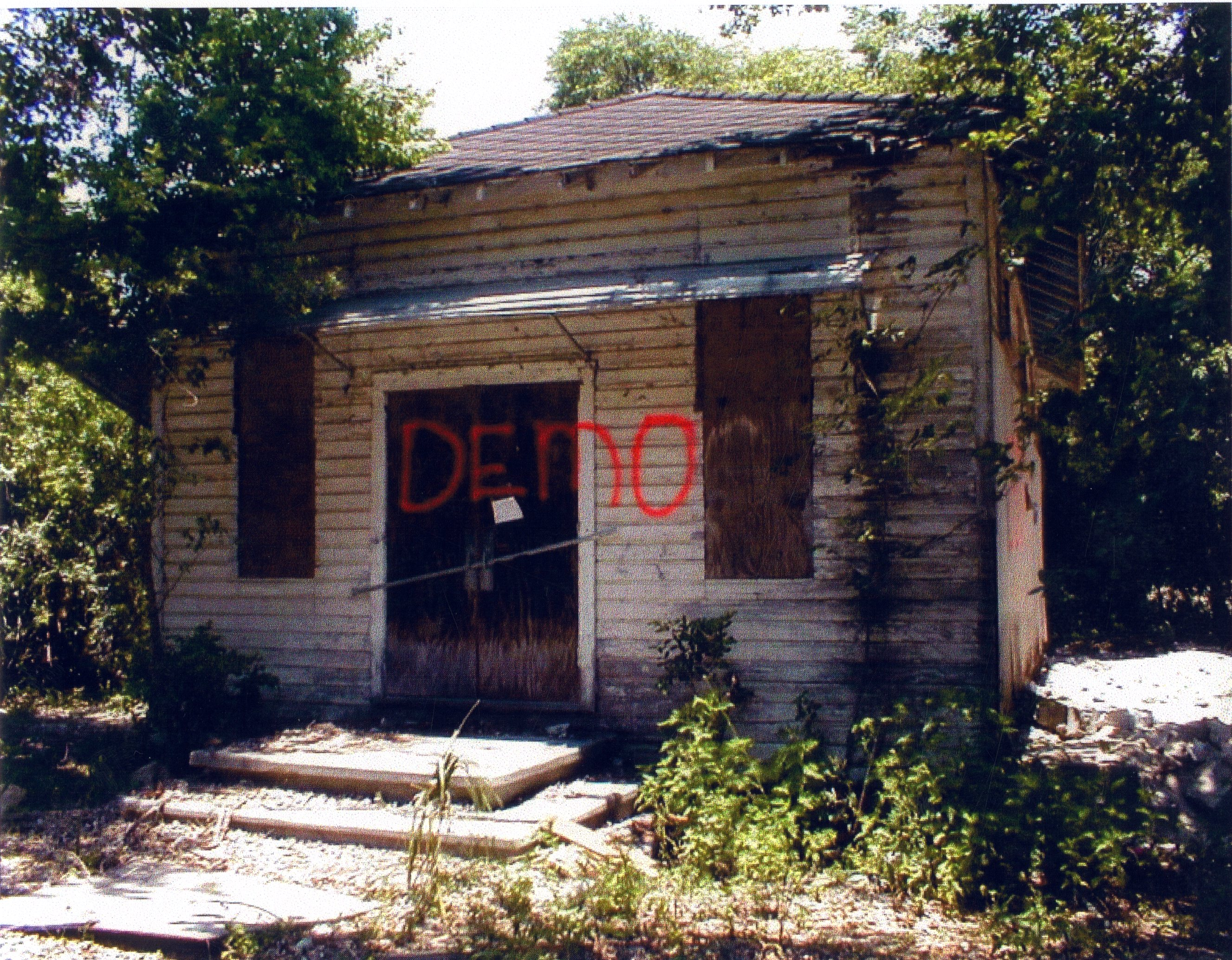 Union Academy building before it was moved to Heritage Village in Largo, Florida, pre-2000.