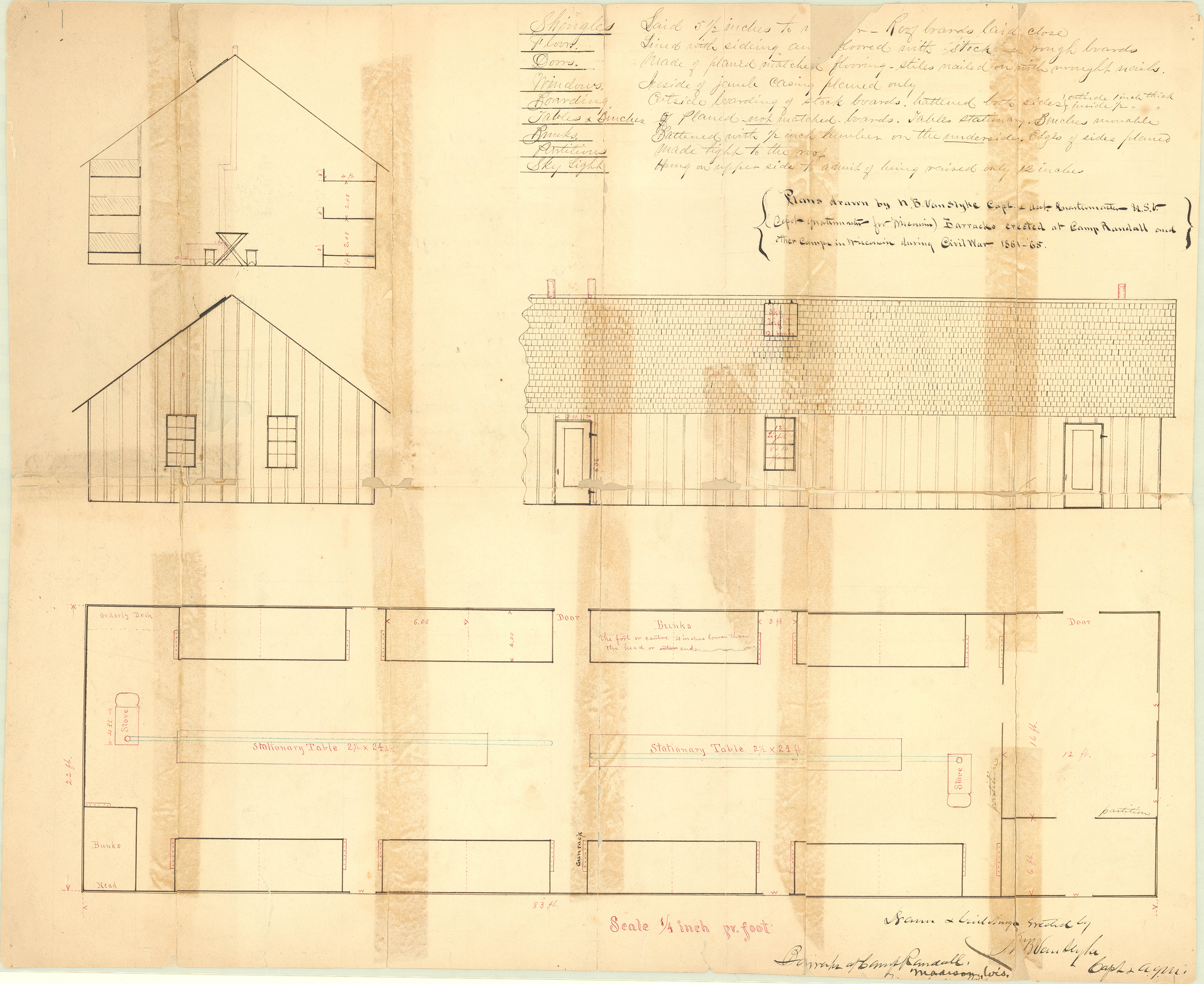 Original construction and floor plans, drawn by Napoleon Bonaparte Van Slyke, for the barracks constructed at Camp Randall during the Civil War. The drawing shows the dimensions of the barracks and layout of bunks, gun racks, stoves, and tables within, and information about materials to use.