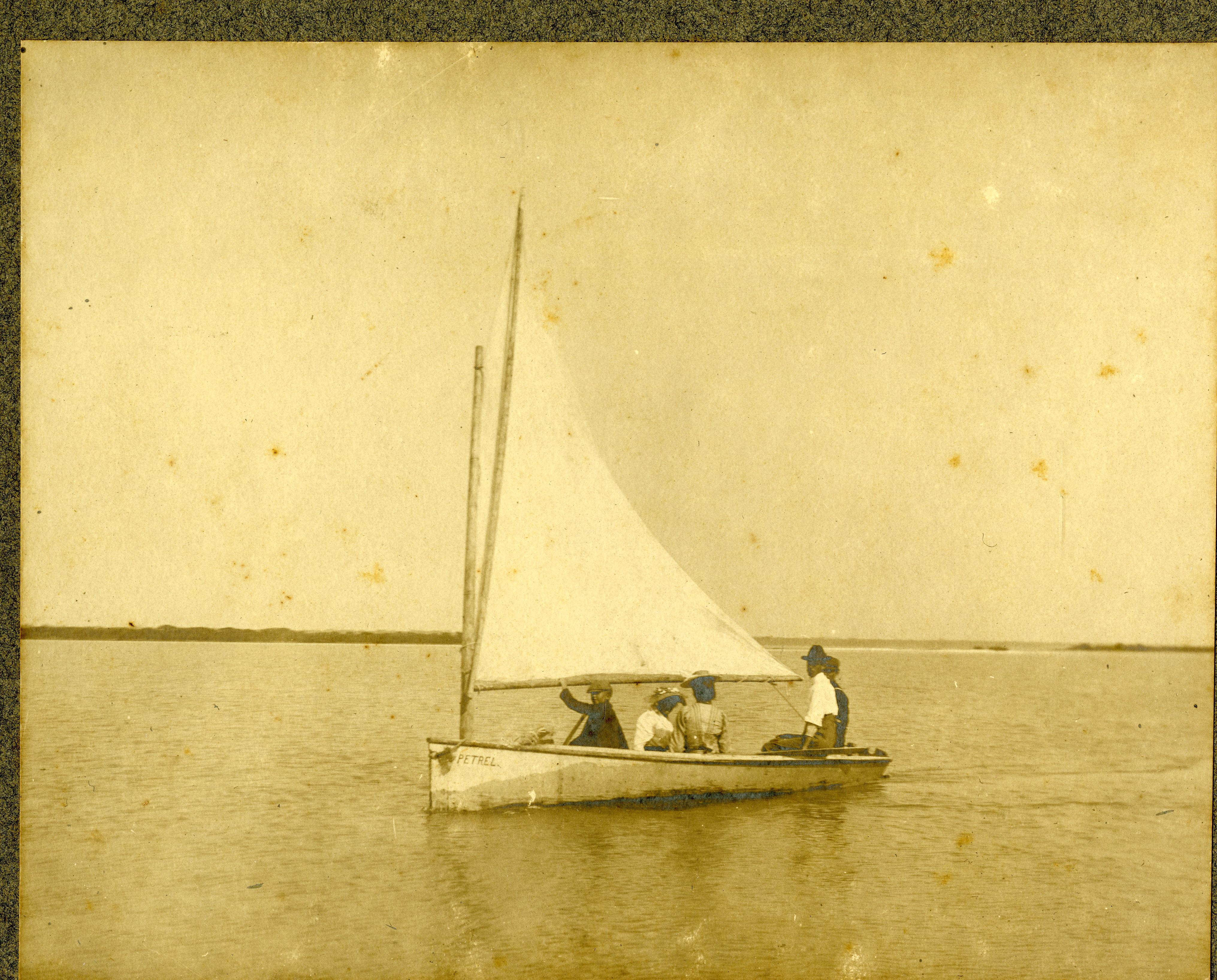Homer Mohr and friends sailing, location Johns Pass, Madeira Beach, Florida, circa 1910.