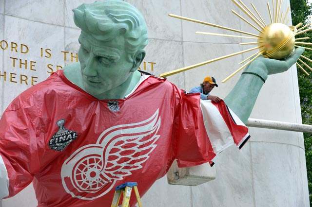 Spirit of Detroit in a Red Wings Jersey