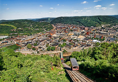 Johnstown Incline Plane looking over the city