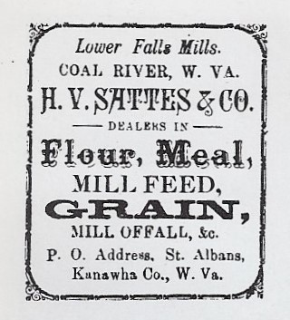 Advertisement for products produced at Sattes Mill from Kanawha County Images pg. 174.