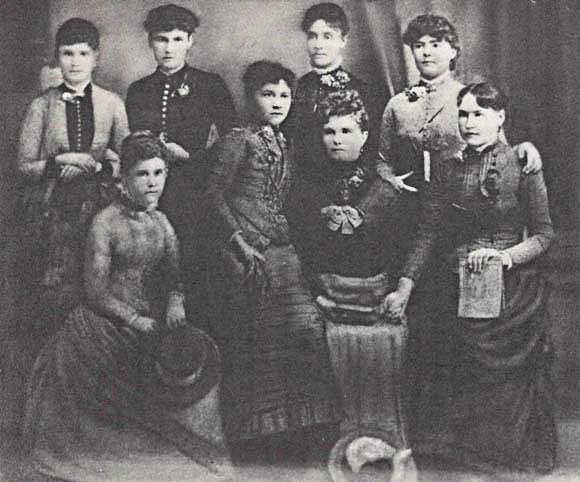 Los Angeles Normal College Graduating Class of 1888. Alice Rowan is located second from right, back row.