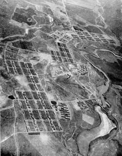 Aerial view of Minidoka; 1940s.