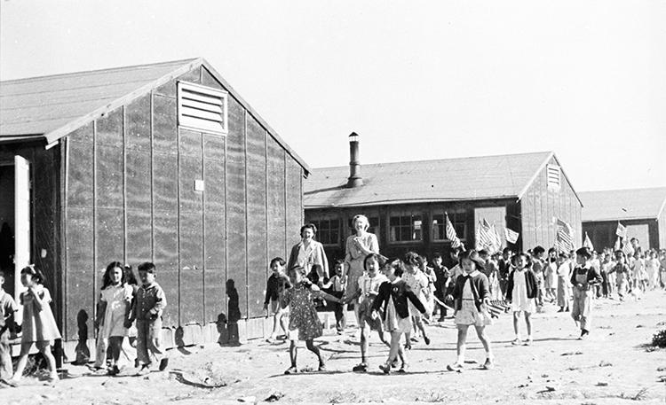 School children in the Minidoka Relocation Center; 1940s. Photo courtesy of Densho Digital Archive