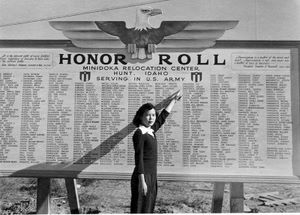 Honor Roll of Japanese Americans who served in the U.S. Army during WWII. The Honor Roll sign has since been reconstructed.