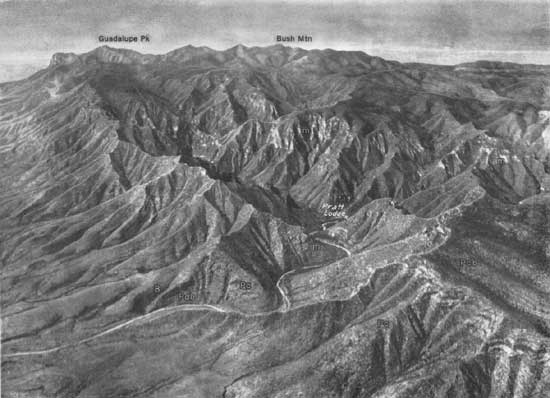 Aerial view of Guadalupe Mountains, TX., showing the kind of rough terrain the Mescalero Apaches were forced to adapt and live on.   Photo courtesy of the National Park Service
