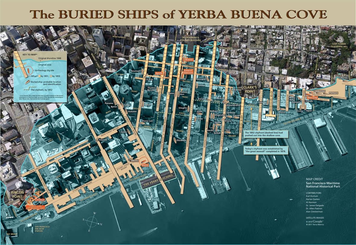 Map of Buried Ships in Yerba Buena Cove (San Francisco)