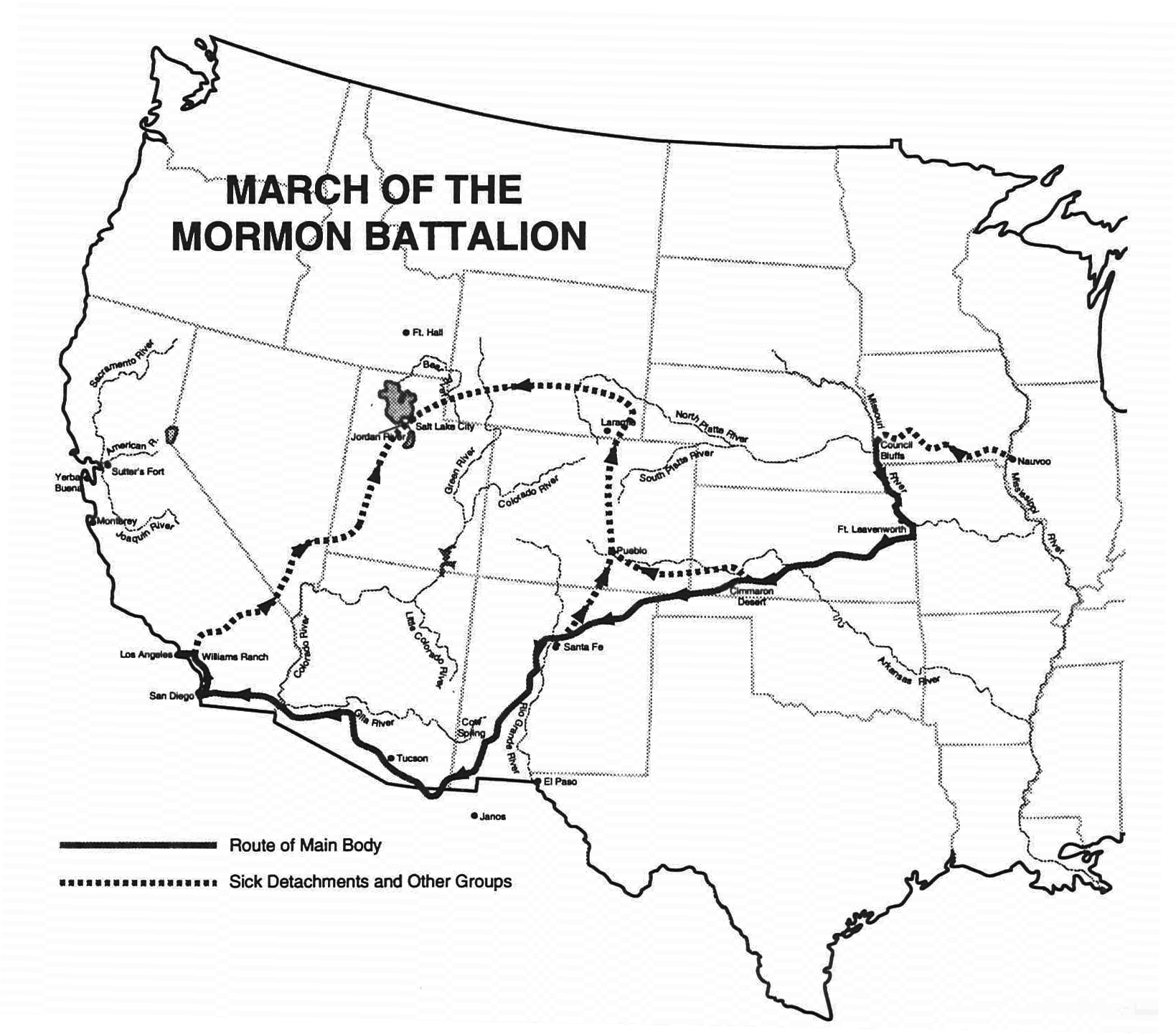 Map detailing the march of the Mormon Battalion