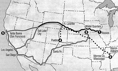 Map of various routes west taken by Mormon Pioneers