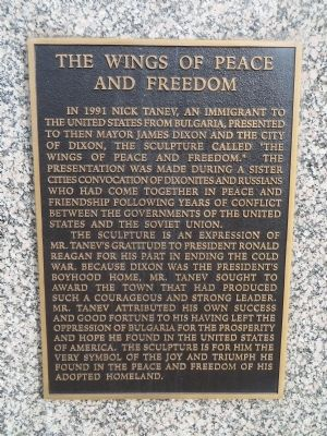 Marker on the bottom of The Wings of Peace and Freedom Sculpture Photo by Bill Kirchner