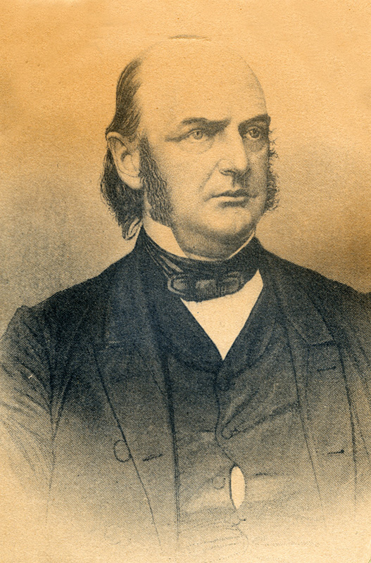 Portrait of Alexander Randall, governor of Wisconsin at the beginning of the Civil War.  Governor Randall was responsible for organizing the first six Wisconsin regiments sent to serve in the war, and namesake for Camp Randall, the training facility that was constructed in Madison, Wisconsin.