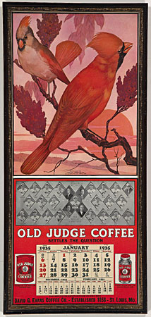 Made in 1935 Old Judge Coffee teamed up with the St. Louis Cardinals to create this memorable calendar.