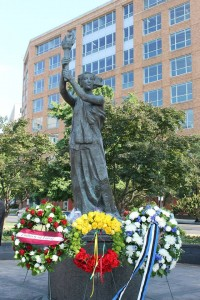 The Chinese Goddess of Democracy was chosen as the centerpiece for the memorial as a reference to the Tienanmen Square Massacre.
