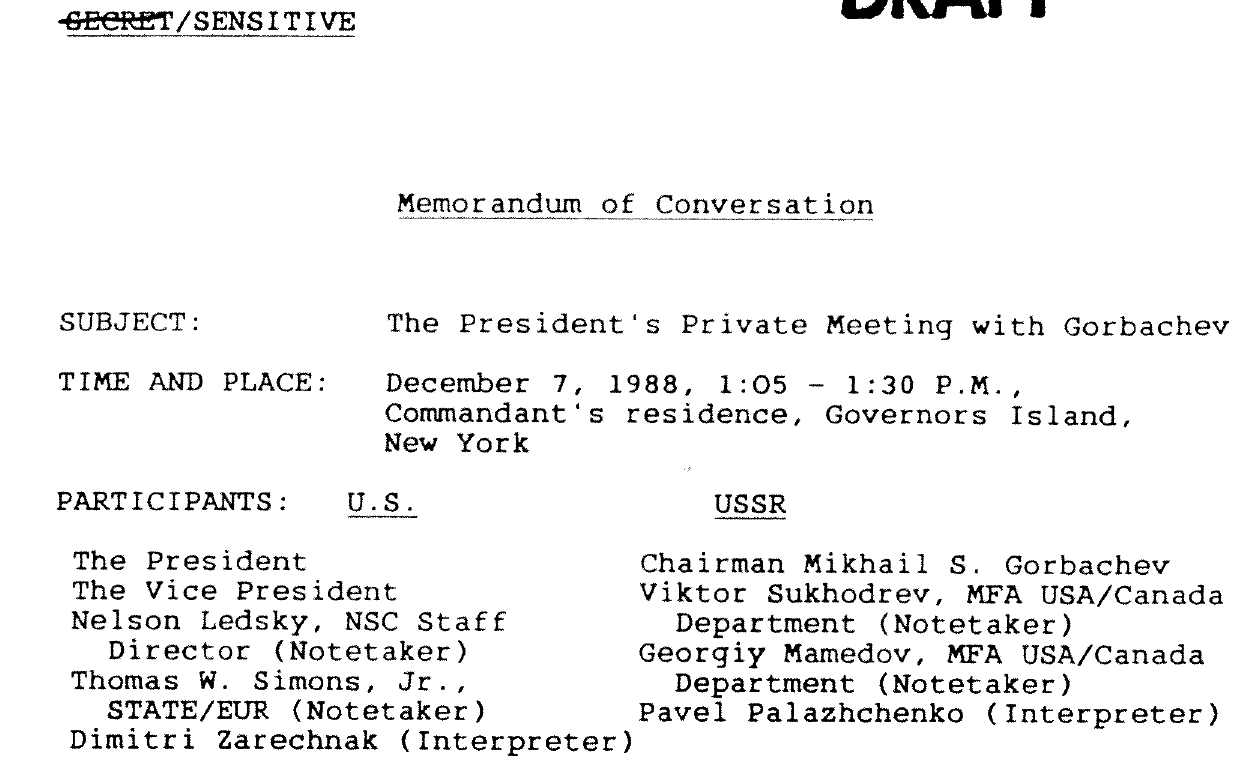 A memo to Gorbachev prompted the meeting between the three before his speech to the UN.