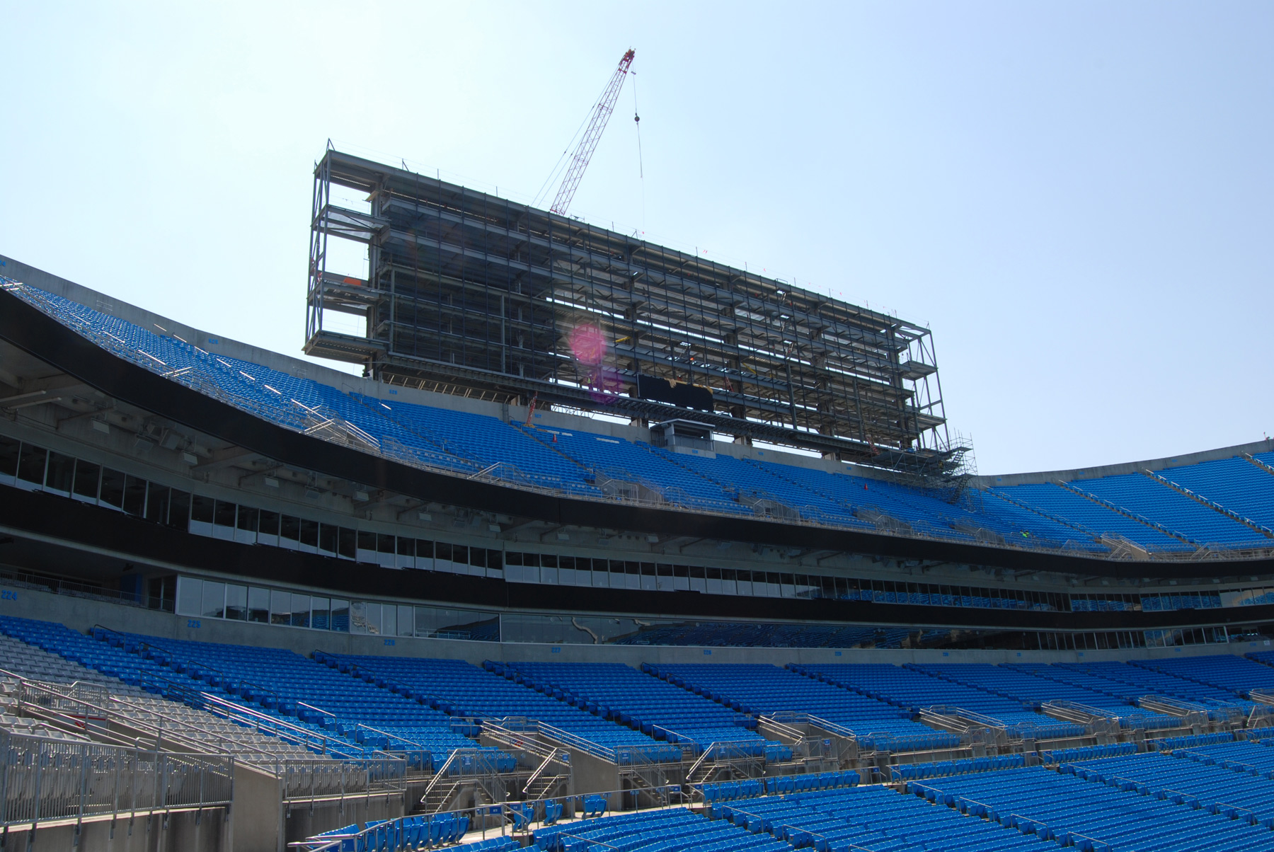 Construction of the new video boards in 2014