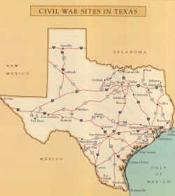 Map of Civil War sites in Texas