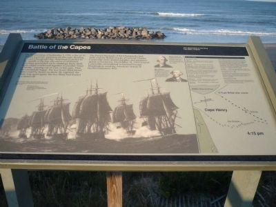 This historic marker along the coastline tells the history of one of the most important naval battles in American history.