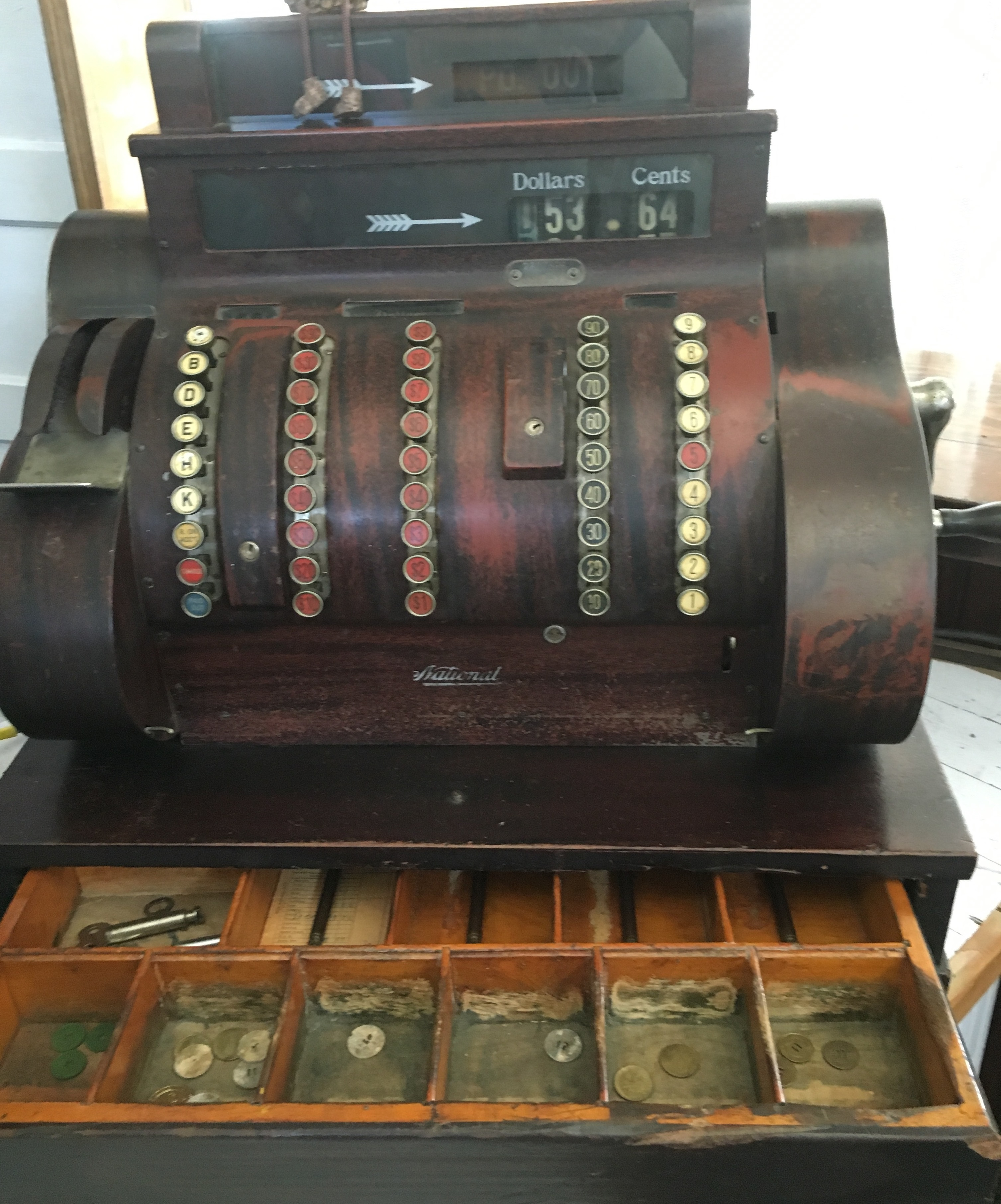 Cash Register. Made in 1902 by the National Cash Register Company in  Dayton, OH. Located in the main store room and still functioning. Picture by: Cassaundra J. Vincent