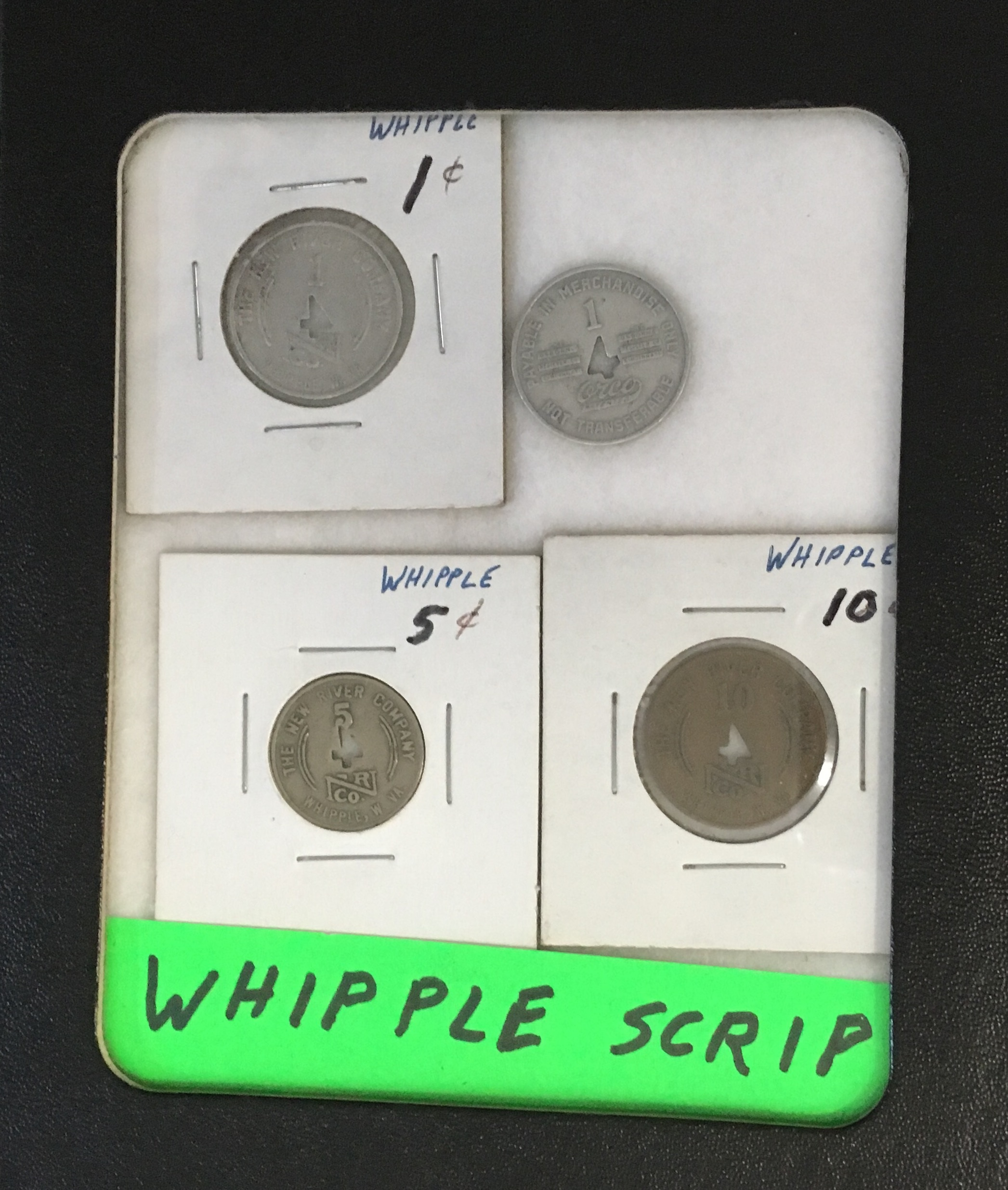 Whipple Scrip. Miners and their families would use the scrip at the company store to purchase goods. Picture by: Cassaundra J. Vincent