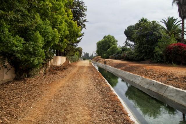 Canal with walking/biking path.