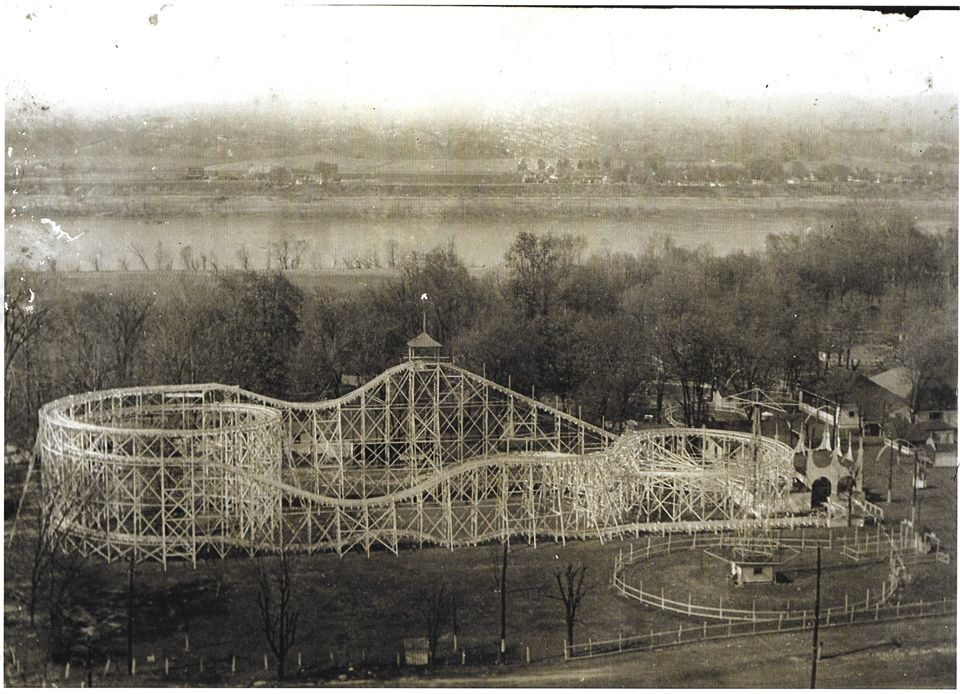 "1912's ""New Sensation"" roller coaster, which was replaced in the late 1950s with the ""Big Dipper."" The latter remains in operation today."