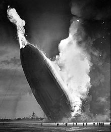 The first burst of flames on the Hindenburg that brought it down and started the catastrophe.