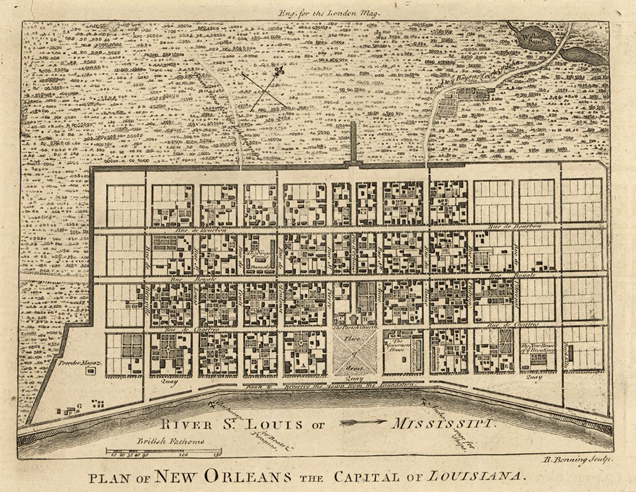 New Orleans, Louisiana, 1761. Map by Richard Benning. Courtesy of Norman B. Leventhal Map Center at the Boston Public Library. Rue de Bourbon (Bourbon Street) is the northern most street running east to west