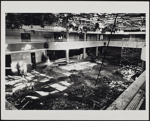Damage sustained by the Union's ballroom during the fire.