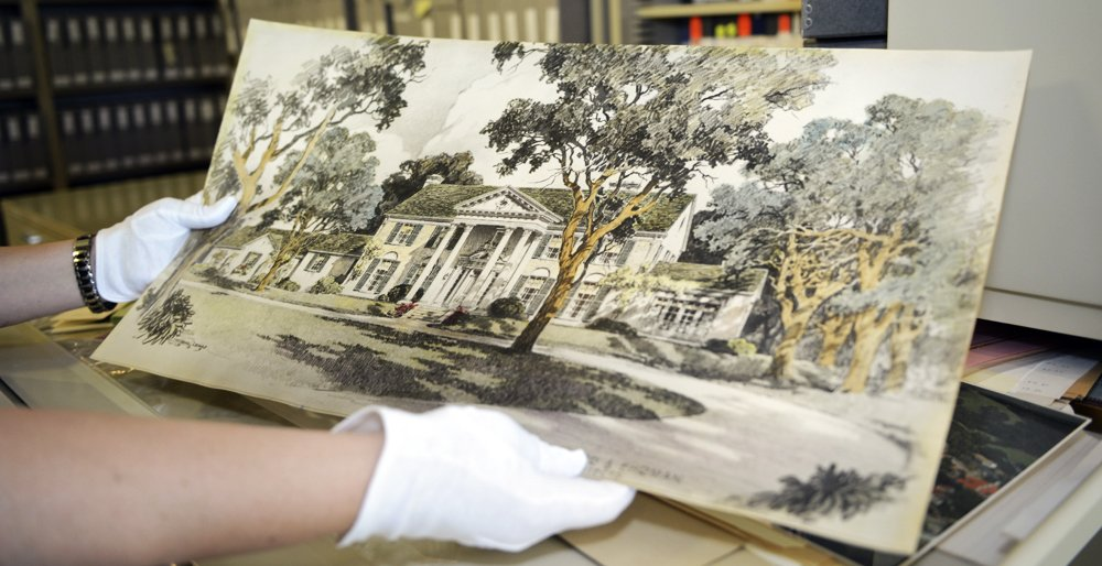 Original painting of Graceland. This is held within Graceland's Archives.