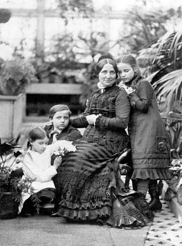 Lucy Hayes in the White House Conservatory with three of her children. Though mocked for her policy of temperance (which forbade the use of alcoholic beverages), she was an extraordinarily popular First Lady.