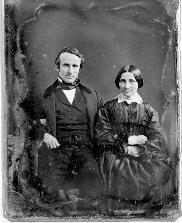 A daguerreotype of the Hayes on the occasion of their wedding. Married nine years before the Civil War, the couple would have five of their eight children before the war ended in 1865.