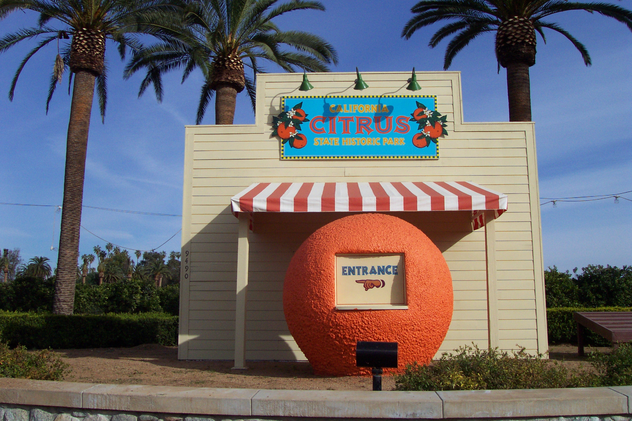 Replica roadside fruit stand near the park's entrance.