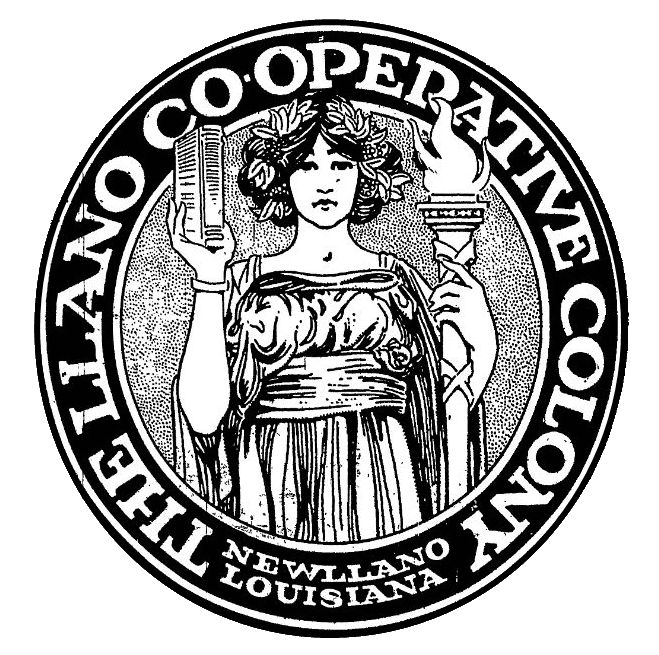 Logo used by the New Llano Colony. This logo was to be placed on every item produced by the colony.