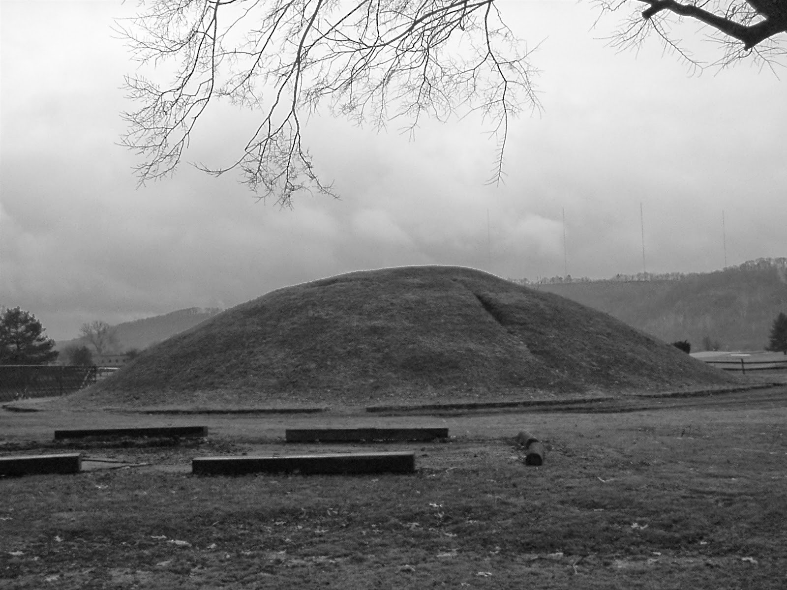 Adena burial mound located in Shawnee Park, in Dunbar, West Virginia. 1953