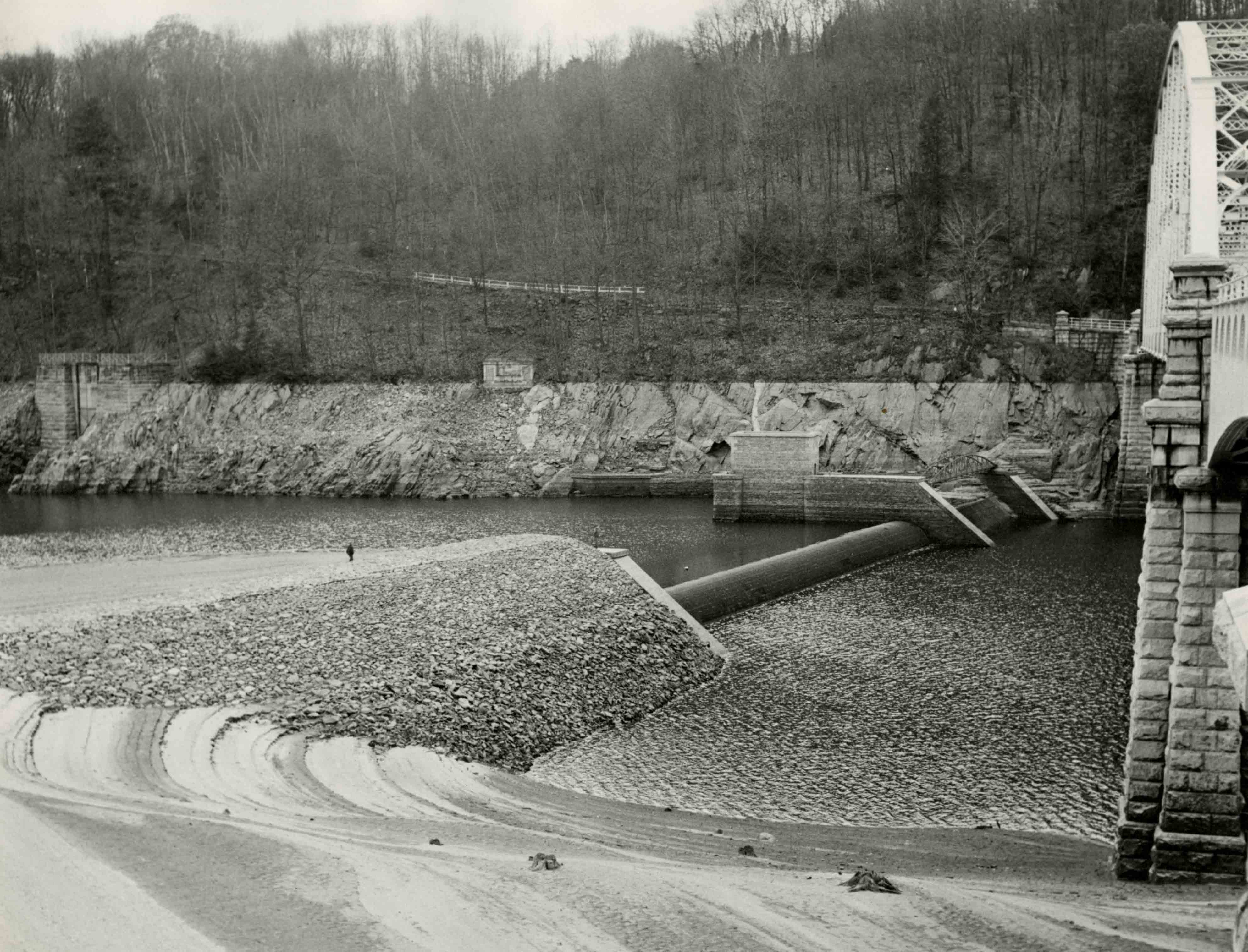 Old Croton Dam revealed at low water in 1949.