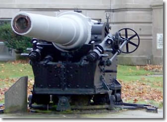 The Cannon displayed on the front lawn of City Hall is from the battleship Maine which was destroyed by explosion in the harbor of Havana, Cuba on February 15, 1898.