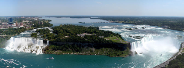 Aerial view of the falls. The park is on the left side.